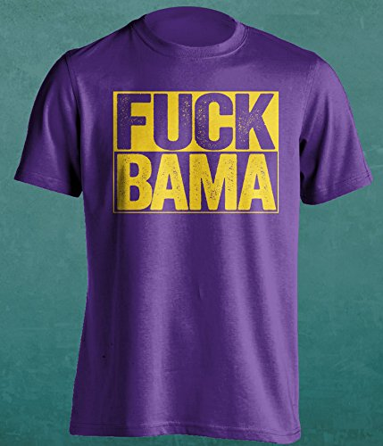 F**K BAMA- Louisiana State University Tigers Fan T-Shirt - Uncensored Version - Box Design - Mens Purple XXL