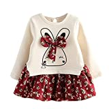 Yaseking Cute Bunny Long Sleeve Dress, Prined Kids Clothes Girls for 1-6 Years Old(Red and Blue}...