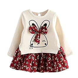 Kobay Baby Girls Dress Outfits Toddler Kids Baby Girl Cartoon Bunny Floral Princess Casual Party Dress Clothes Set Suit…