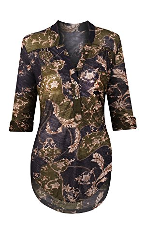 HOT FROM HOLLYWOOD Women's High-Low Button Collar Sheer Paisley Print Loose Fit Tunic - Hilo Mall Stores