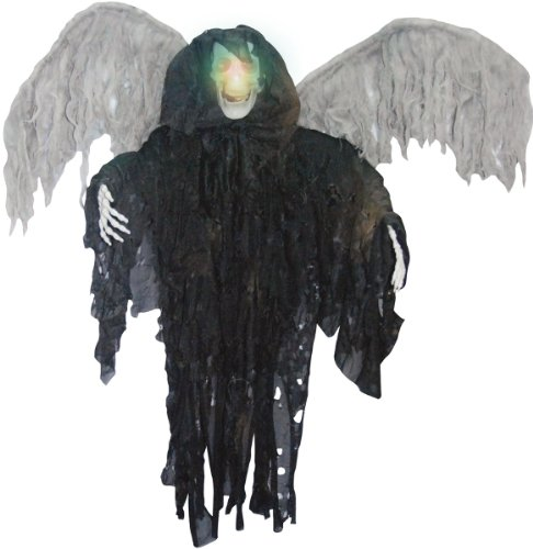 Halloween Decor: Black Winged Reaper- Hanging Product Description: 3 Foot Tall Hanging Reaper With Light Up Color Changing Skull And Posable Arms. Shredded Cloth Costume With Attached Wings. Requires Three Ag13 Watch Batteries (Not Included). -