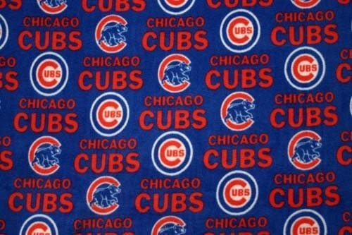 - MLB Chicago Cubs Blue Baseball Print Fleece Fabric By the Yard