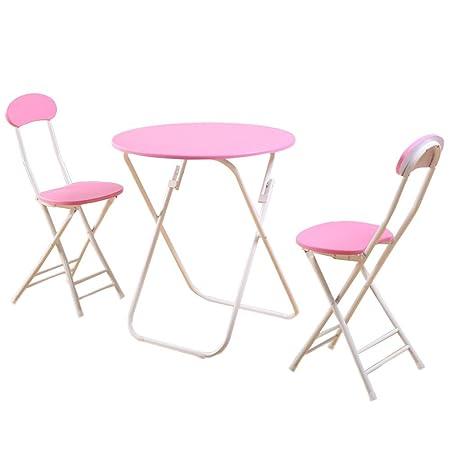 WXBBZ Coffee Table Juego de 3 mesas y sillas Plegables, Mesa ...