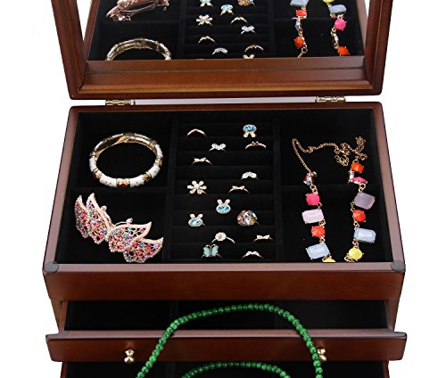 Large Wooden Jewelry Box Necklace Ring Armoire Crate on Dresser Chest Organizer Armoire11.6 inch x7.87 inch x11.2 inch by BELLAMORE GIFT (Image #2)