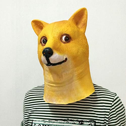 Baguio-Store - Funny Head Doge 3D Latex Mask Cosplay Halloween Costume God Dog Head Full Face Adult Mask Breathable Halloween Masquerade Party]()