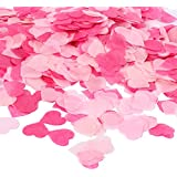 Whaline 1 inch Pink Paper Confetti 6000 Pcs Heart Tissue Confetti Party Wedding Table Decorations, Mixed Colors