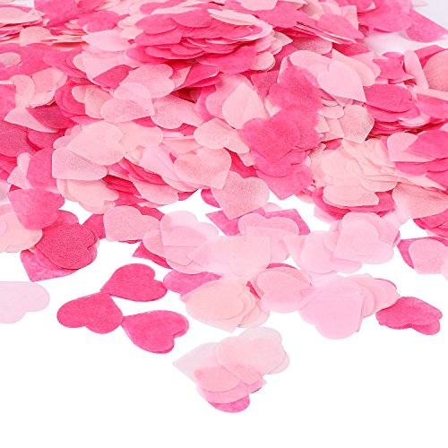Tissue Heart (Whaline 1 Inch Pink Paper Confetti 6000 Pcs Heart Tissue Confetti Party Wedding Table Decorations, Mixed Colors)