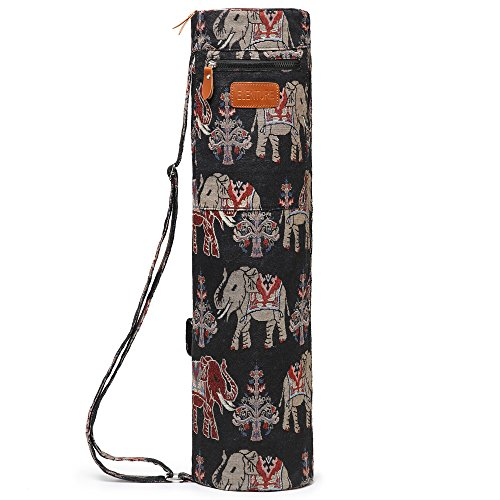 ELENTURE Full-Zip Exercise Yoga Mat Carry Bag with Multi-Functional Storage Pockets (Black and Elephant)