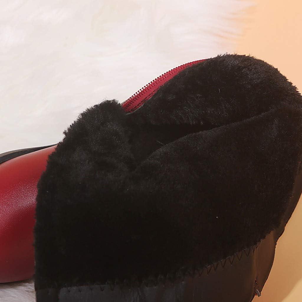 Toddler//Little Kid//Big Kid Kauneus Girls Waterproof Lace Bowknot Side Zipper Fur Lined Tall Winter Boots