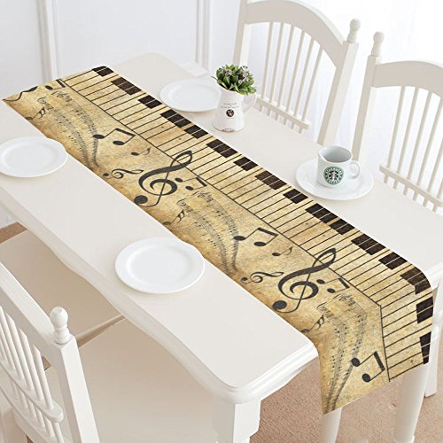 INTERESTPRINT Music Note Treble Clef Table Runner Home Decor 14 X 72 Inch,Music Note Piano Table Cloth Runner for Wedding Party Banquet Decoration -
