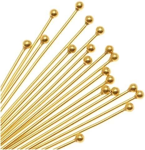 Gold Plated Brass 1 inch Head Pins Gold Headpins 22 gauge Qty 30 pieces