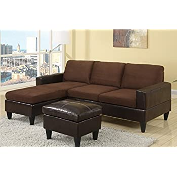 Poundex F7291 Brown Leatherette U0026 Fabric Living Room Sofa Sectional Set