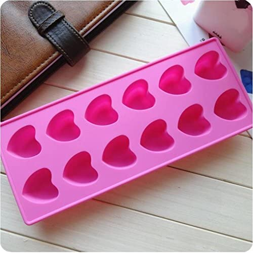 Allforhome(TM) 12 Valentine Hearts Silicone Chocolate Candy Mold Handmade Soap Candy Molds Resin Clay Ice Cube Tray