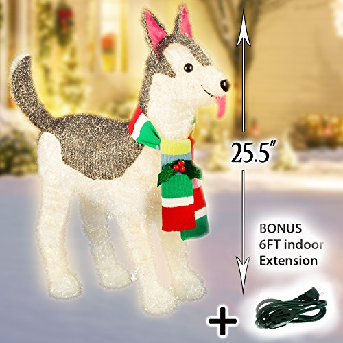 Brunch Ideas Christmas - Christmas Holiday Decorations - Lit Tinsel Husky Dog with Scarf - 50 bulbs - 25.5