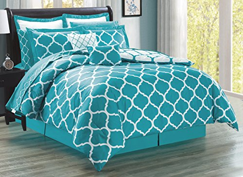 12-Piece Oversize Lattice Quatrefoil Designer Comforter Set King Size Bed In A Bag with Sheets, Euro Shams and Decorative Pillows (Turquoise Blue, White) (Designer Comforter Sets King Size)