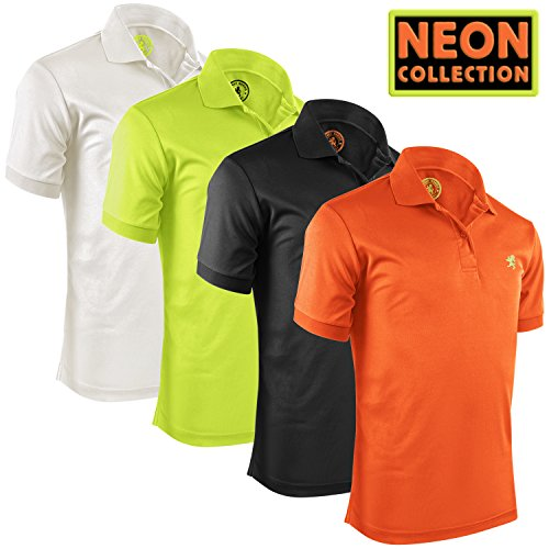 Alfred Morris Mens Short Sleeve Polo Shirts 4 Pack (Neon Collection, X-Large)