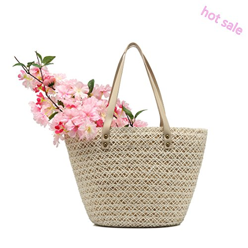 Luolin Summer Straw Bags Beach Bags Weave Handbags Tote with Zipper for Women Birthday Gift by Luolin