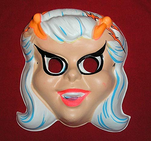 Gatton 1960s Dick Tracy Moon Maid Halloween Mask - HALCO - Old Store Stock -