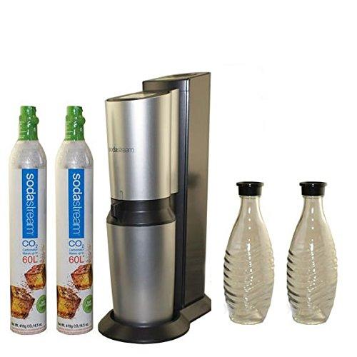 sodastream crystal home soda maker crystal glass carafe and 2nd 60 liter carbonator spare. Black Bedroom Furniture Sets. Home Design Ideas
