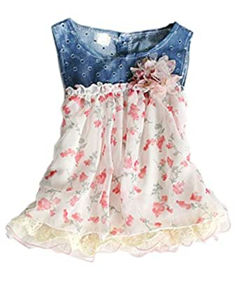 Amazon.com: Toddler Baby Girls Dress Denim Chiffon Flower ...