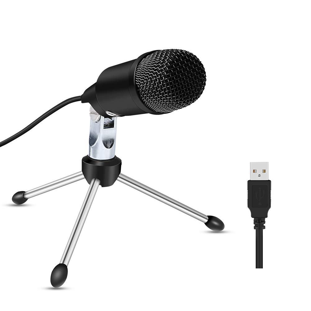 USB Microphone for Macbook and Windows, ZealSound Computer Microphone with Tripod Stand, Plug & Play Home Studio Condenser Microphone for Skype, Recordings for YouTube, Google Voice Search, Games