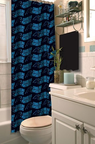 - Carolina Panthers COMBO Shower Curtain, Matching Shower Curtain Rings & Set of (Four) Appliqué Bath Towels with Team Logo - Decorate your Bathroom & SAVE ON BUNDLING!