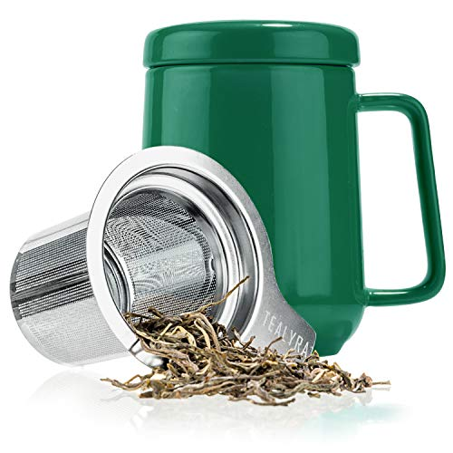 Tealyra - Peak Ceramic Green Tea Cup Infuser - 19-ounce - Large Mug with Lid and Stainless Steel Infuser - Tea-For-One Perfect Set for Office and Home Uses - 580 milliliter ()
