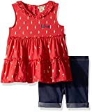 Lucky Brand Toddler Girls' Denim Bermuda Set, Coral, 4T