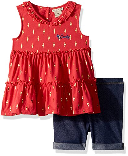 Lucky Brand Toddler Girls' Denim Bermuda Set, Coral, 4T by Lucky Brand