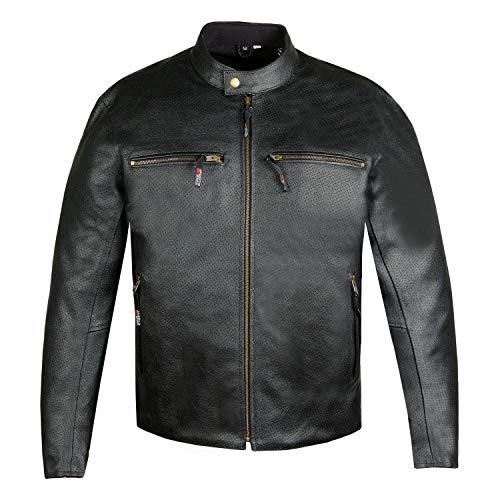 Men's Infinity Airflow Perforated Leather Motorcycle CE Armor Biker Jacket