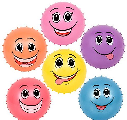 6'' FUNNY FACE KNOBBY BALLS, Case of 2 by DollarItemDirect
