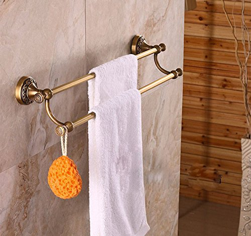 Rozin Antique Brass Double Towel Bars Art Carved Style (Antique Brass Double Towel Bar)