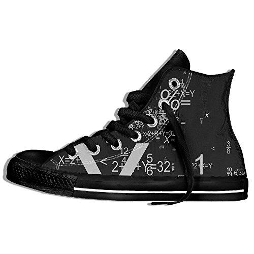Classiche Sneakers Alte Scarpe Di Tela Antiscivolo Formula Matematica Casual Walking Per Uomo Donna Nero