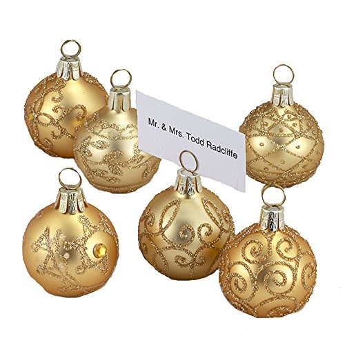 Kurt Adler Glass Gold With Gold Glitter Ball Shape Place Card Holders 12-piece Set