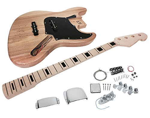 Solo JB Style DIY Bass Guitar Kit, Maple Neck Block Inlay, Ash Body