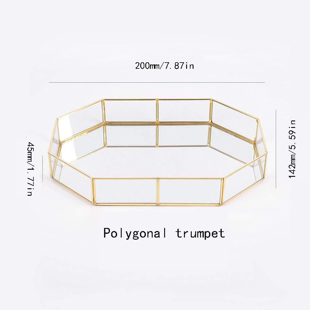 Unico Vetro Geometrica Scatola Decorativa in Vetro e Ottone XIAMUSUMMER Vassoio Oro Vassoio Portagioie 12,4 x 1,96 x 8,46 Pollici Profumo