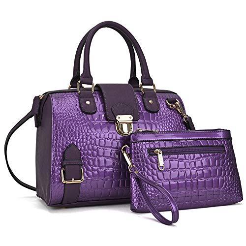 Dasein Women Barrel Handbags Purses Fashion Satchel Bags Top Handle Shoulder Bags Vegan Leather Work Bag - Handbags Deep Purple Leather