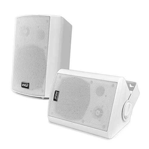 Wall Mount Home Speaker System - Active + Passive Pair Wireless Bluetooth Compatible Indoor / Outdoor Waterproof Weatherproof Stereo Sound Speaker Set with AUX IN - Pyle PDWR51BTWT (White) ()