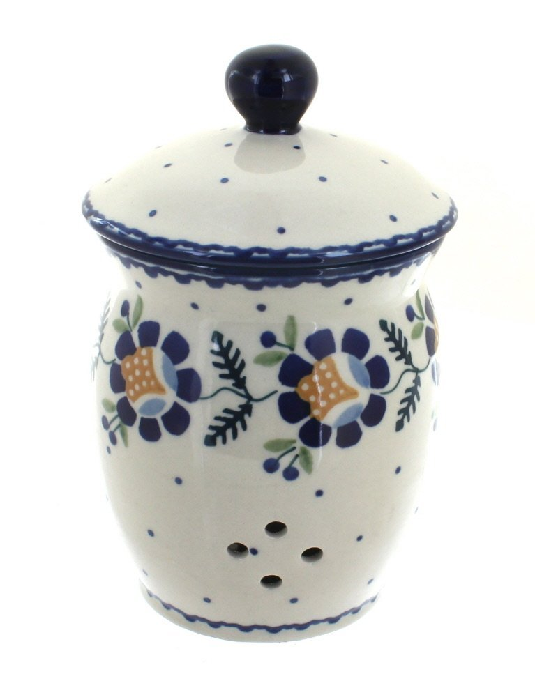 Polish Pottery Sunflower Garlic Keeper Manufaktura