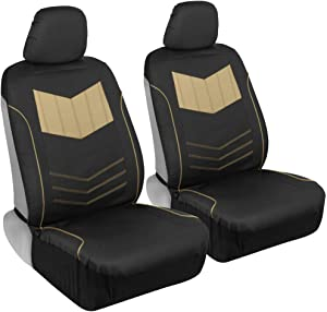 Motor Trend M304 Sport Faux Leather Car Seat Covers, Front – Stylish Two-Tone Design, Easy to Install, Universal Fit for Auto Truck Van and SUV