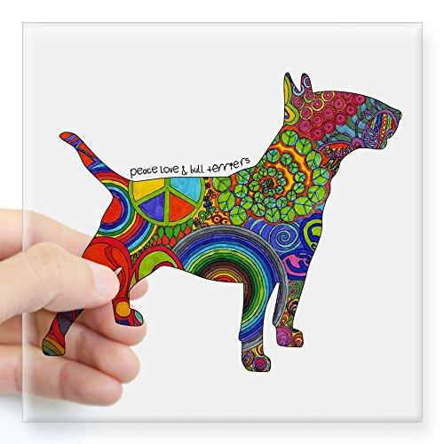 CafePress Peace Love Bull Terriers Square Sticker 3 X 3 Square Bumper Sticker Car Decal, 3