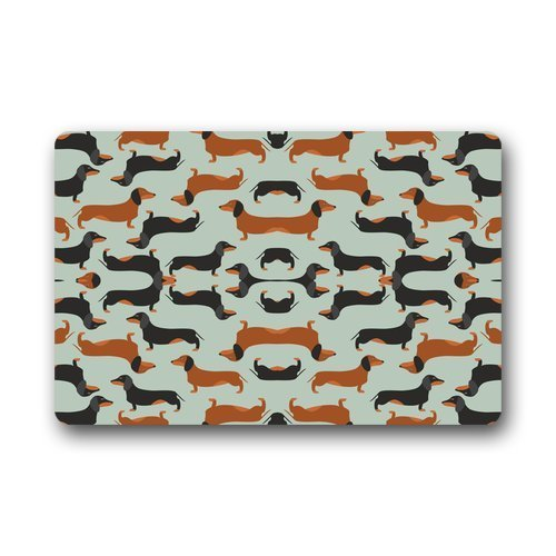 Custom Seamless Pattern with Dachshund Indoor/Outdoor Doormat,23.6x15.7inch