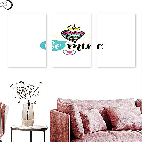 J Chief Sky Romantic Landscape Canvas Colorful Patterned Heart Shape with a Crown Creative Typography Phrase Be Mine Triptych Wall Art Multicolor Triptych Art Canvas W 24