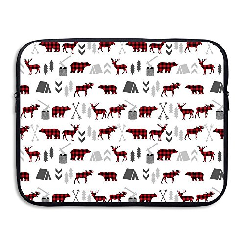 GSIAHALJ Portable 13-15 Inch Laptop Sleeve, Neoprene Fabric Buffalo Plaid Woodland Moose Deer Bear Forest Trees Camping Canada Pattern Single Face Protective Cover