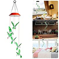 Goodtechnical Solar Hummingbird Wind Chimes Color Changing Led Mobile Hanging Waterproof Hummingbird Wind Chimes for Outdoor Indoor Home Party Night Yard Garden Decoration (Red)