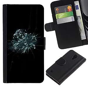 KingStore / Leather Etui en cuir / Samsung Galaxy S4 IV I9500 / Vidrio roto Espejo Negro azul del papel pintado