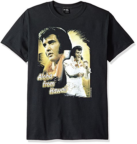 Trevco Men's Elvis Short Sleeve T-Shirt, Aloha Black X-Large