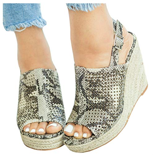 LAICIGO Women's Espadrille Wedges Sandals PU Belt Buckle Blocking Adjustable High Platform Ankle Strap Summer