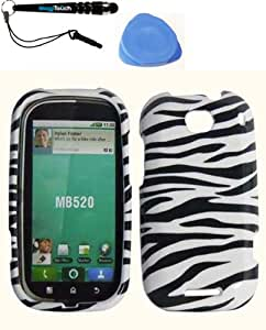 3-in-1 Bundle For Motorola Bravo MB520 Snap-on Hard Case Design Cover Phone Protector - Zebra Shell Cover Faceplate Skin Phone Case + IMAGITOUCH(TM) Touch Screen Stylus Pen + Pry-Triangle Case Removal Tool