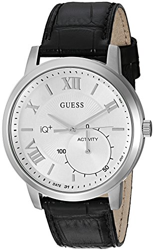 GUESS Men's 'Connect Fitness' Quartz Stainless Steel and Leather Casual Watch, Color:Black (Model: C2004G1)